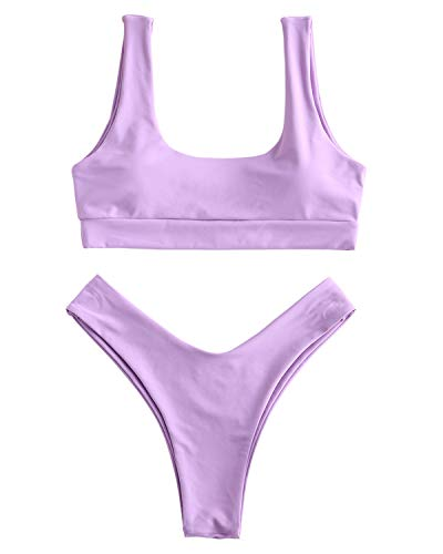 ZAFUL Women's Two Piece Bikini Push Up Halter Swimsuit Solid Color Bathing Suits