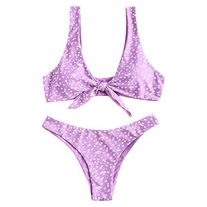 ZAFUL Women's Floral Low Waisted Front Knot Bikini Set Cute Two Piece Swimsuits