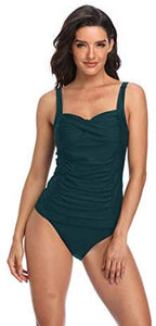 Yonique Women's Ruched Tankini Top Swimsuit with Triangle Briefs Two Pieces Vintage Bathing Suit