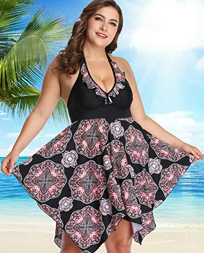 sanatty Women's Plus Size Swimsuit Floral Printed Plus Swimwear Tankini Two Pieces Swimdress 2XL-6XL