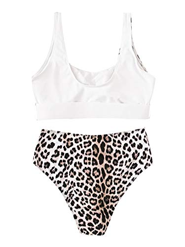 Floerns Women's Leopard Buckle Front Top with High Waist Bikini & Two Pieces Swim Cheeky Bathing Suit