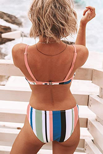 CUPSHE Women's Striped Back Hook Closure Bikini Adjustable Straps Swimsuit