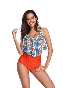 KABETY Women Two Pieces Bathing Suits Ruffled Racerback High Waisted Bikini Set