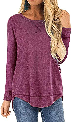I2CRAZY Women's Casual Long Sleeve Round Neck Tunic Tops Loose T Shirt Blouses at Amazon Women's Clothing store