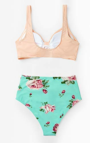 CUPSHE Women's Floral Halter High Waisted Peach and Tiffany Blue Bikini