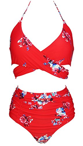 COCOSHIP Women's Ruching High Waist Bikini Set Cross Wrap Push Up Top Tie Back Bathing Swimsuit(FBA)