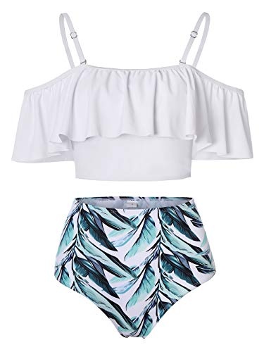 Kaei&Shi High Waisted Flounce Bikini Set,Tummy Control Swimsuits for Women,Off Shoulder