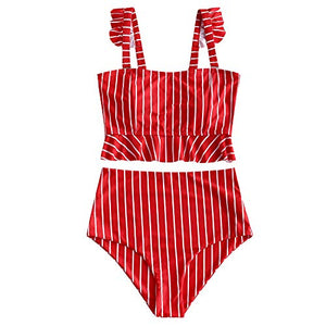 ZAFUL Women's Striped Ruffle High Waisted Two Pieces Tankini Set Swinsuit