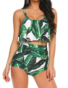 ADOME High Waist Bikini Set for Women Ruffled Tummy Control Swimsuit 2 Piece Printed Plus Size Swimwear