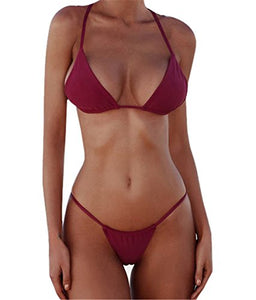 XUNYU Bikini Set Bandage Solid Brazilian Swimwear Two Pieces Swimsuit Padded Thong Bathing Suits
