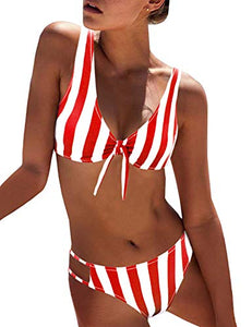 BMJL Women's Sexy Detachable Padded Cutout Push Up Striped Bikini Set Two Piece Swimsuit