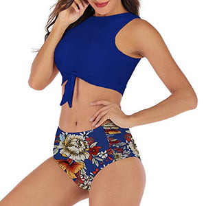 RXRXCOCO Womens High Waisted Bikini Set Tie Knot Front Crop Top Two Piece Swimsuits Print Bottoms