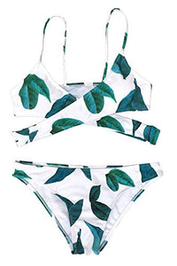 CUPSHE Women's Fresh Leaves Printing Cross Bikini Set