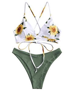 ZAFUL Women's Adjustable Back Crisscross Lace-up Bikini High Leg Floral Two Piece Swimsuit Bathing Suits