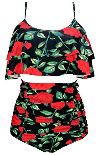 COCOSHIP Women's Retro Ruffled Bikini Set Straps Flounce Falbala Top Tiered Ruched High Waist Swimsuit(FBA)