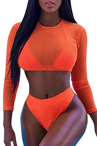 Meyeeka Womens Sexy High Waist Rash Guard Swimwear Long Sleeve 3PCS Swimsuit