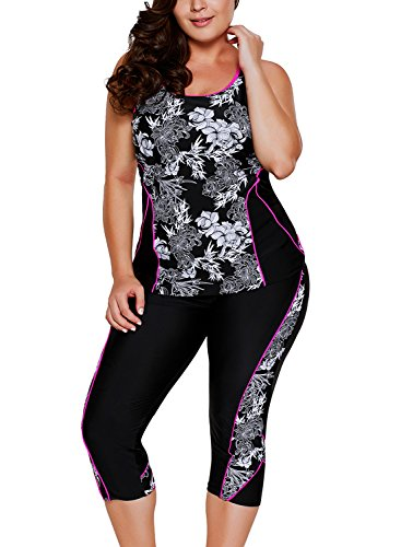 Aleumdr Womens Racerback Color Block Print Tankini Swimsuits with Swim Capris S-XXXL at Amazon Women's Clothing store
