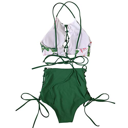 GIRL AND SEA Women African Backless Bikini High Waist Tankini Patterned Strap Swimsuit Set