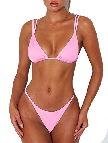 Womens Sexy Solid Color Tie Top Bottom Adjustable Skimpy Triangle Bikini String Swimsuit