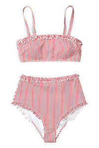 CUPSHE Women's Stripe Reversible Bandeau Top High Waisted Bikini