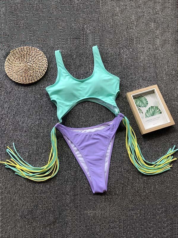 Hollow Tasseled One-piece Swimwear