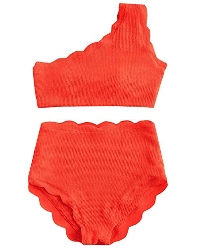 VOLAFA High Waisted Swimsuit Two Piece Bikini Set Scalloped Vintage Women Off Shoulder Elastic Swimwear