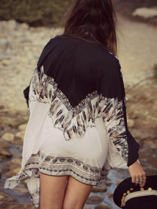 Fashion Chiffon Bohemia Long Sleeve Cover-Ups