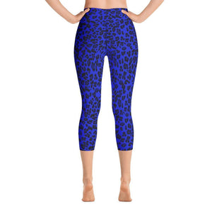 Capri Leggings - Neon Blue Leopard - peace-lover