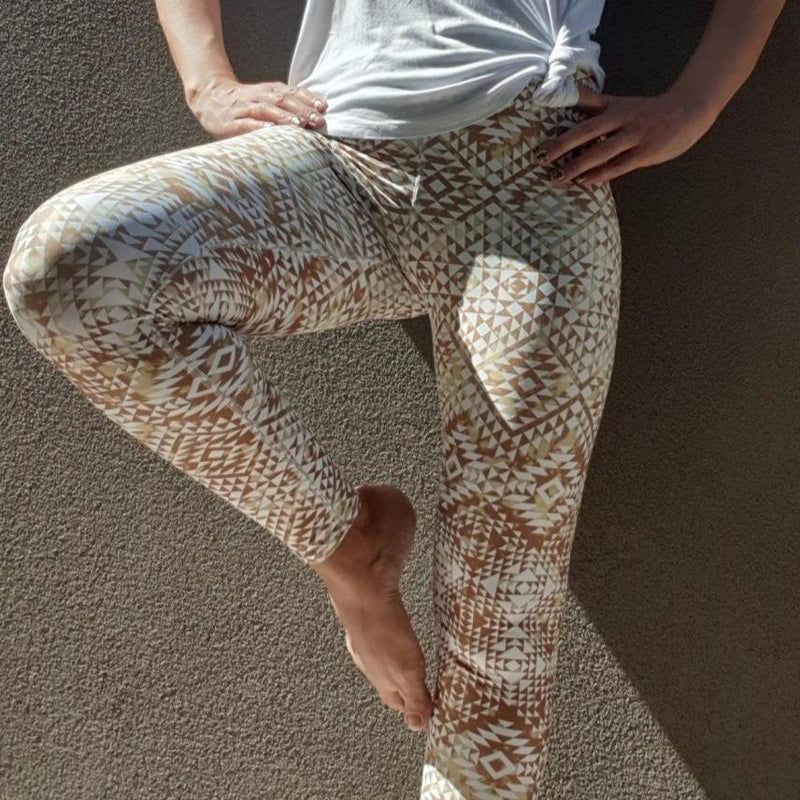 High waist leggings - Aztec White and Gold - peace-lover