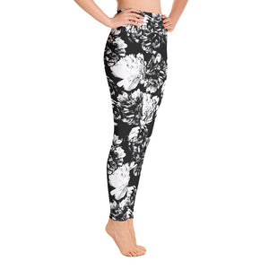 High waist leggings - Black and White Floral - peace-lover