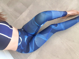High waist leggings - Blue Geometric - peace-lover