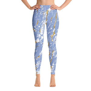 High waist leggings - Blue Marble - peace-lover