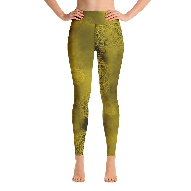 High waist leggings - Golden Lagoon - peace-lover