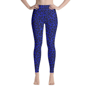 Neon Yoga Leggings - Blue Leopard - 9