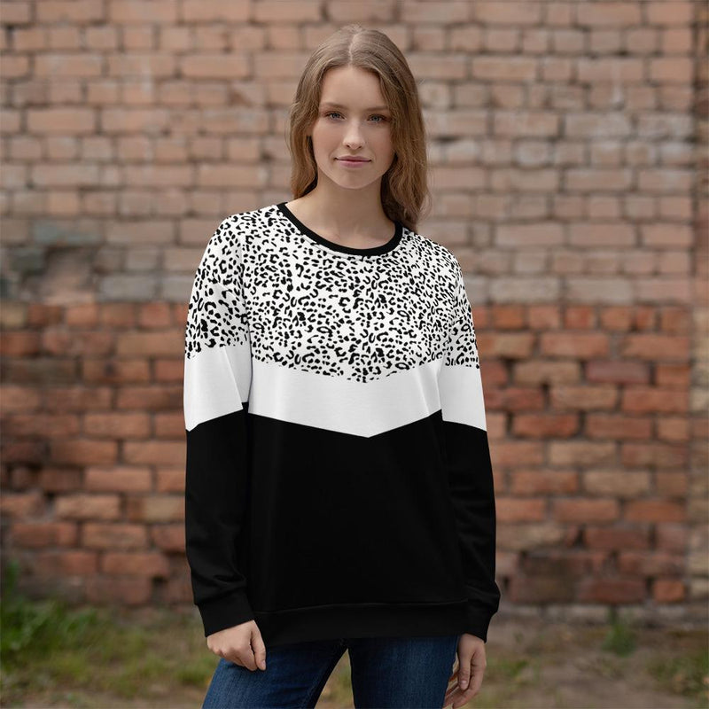 Leopard panel sweatshirt black and white