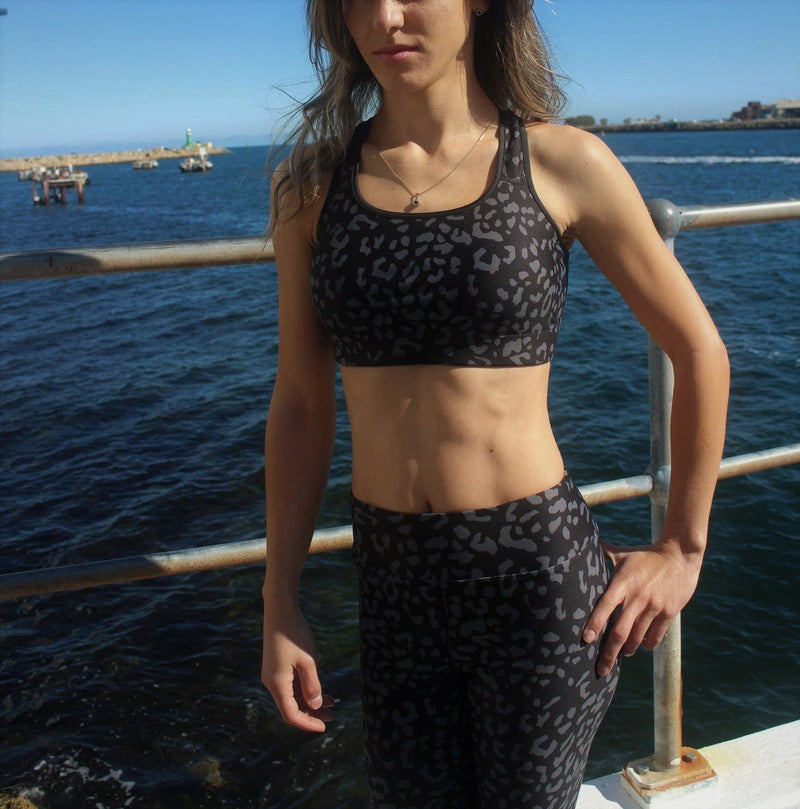 Padded Sports Bra - Black Leopard - peace-lover
