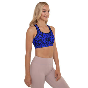 Padded Sports Bra - Neon Blue Leopard - peace-lover