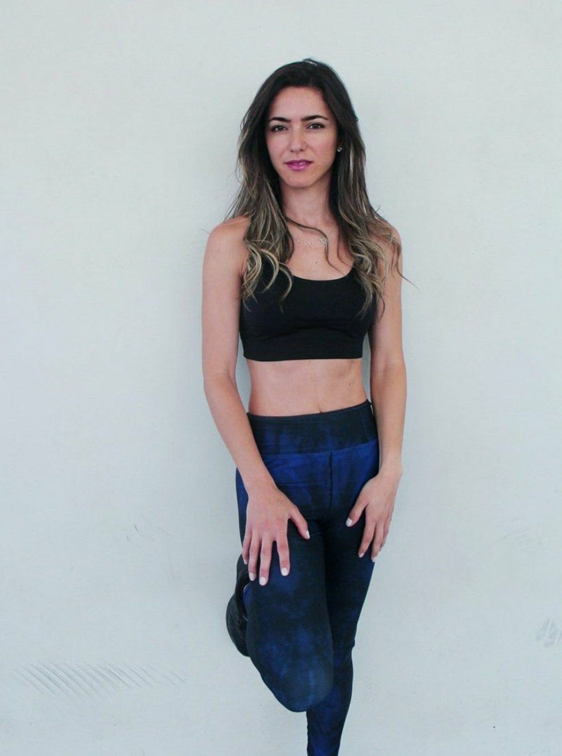 Printed Yoga Leggings - Navy and Black Tie Dye - Printed Leggings for Women - peace-lover