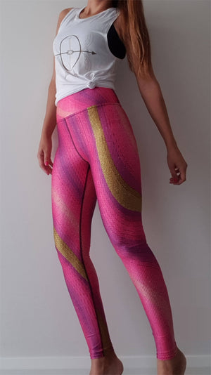 Printed Yoga Leggings - Pink Candy - Printed Leggings for Women - peace-lover