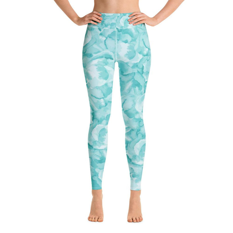 Yoga Leggings - Turquoise Blossom - Printed Leggings for Women - peace-lover