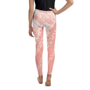 Youth Leggings - Coral Tie Dye - peace-lover