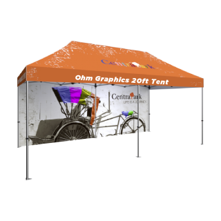 High Quality Custom Printed 20ft Tent with Canopy & Double Sided 20ft Back Wall