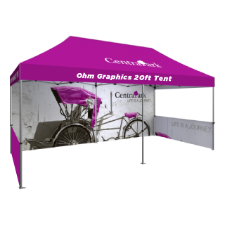 High Quality Custom Printed 20ft Tent with Canopy, Doube Sided 20ft Back Wall & Double Sided Two 10ft Side Half Walls