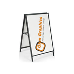 "Heavy Duty Black Powder Coated A-Frame With Two Graphic Inserts 24""W by 36""H or 32""W by 48""H"