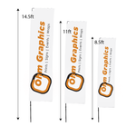 High Quality Edge Flags Single Sided Fibre Glass Rotating Pole 8.5ft, 11ft, or 14.5ft