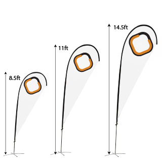 High Quality Tear Drop Flags Single Sided Fibre Glass Rotating Pole 8.5ft, 11ft, or 14.5ft