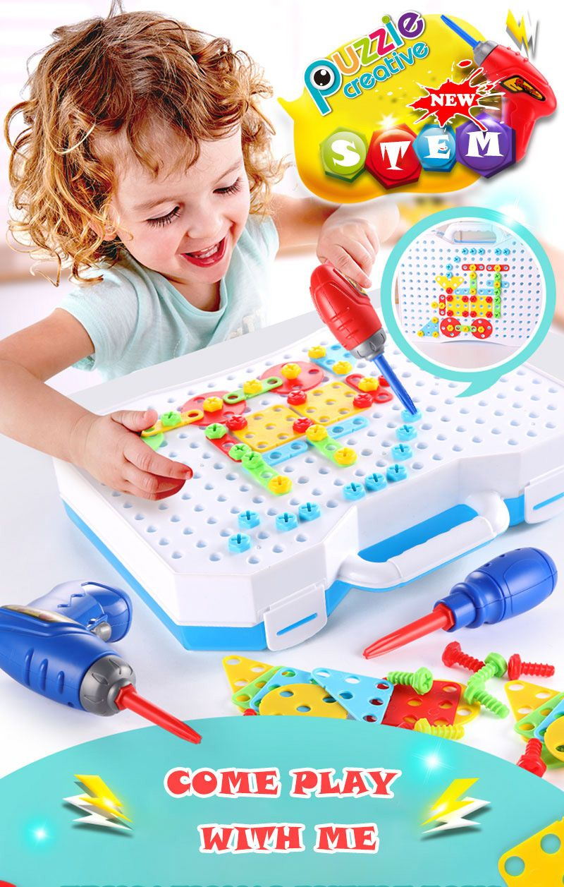 Drilling Screw 3D Creative Mosaic DIY Puzzle Toys For Children