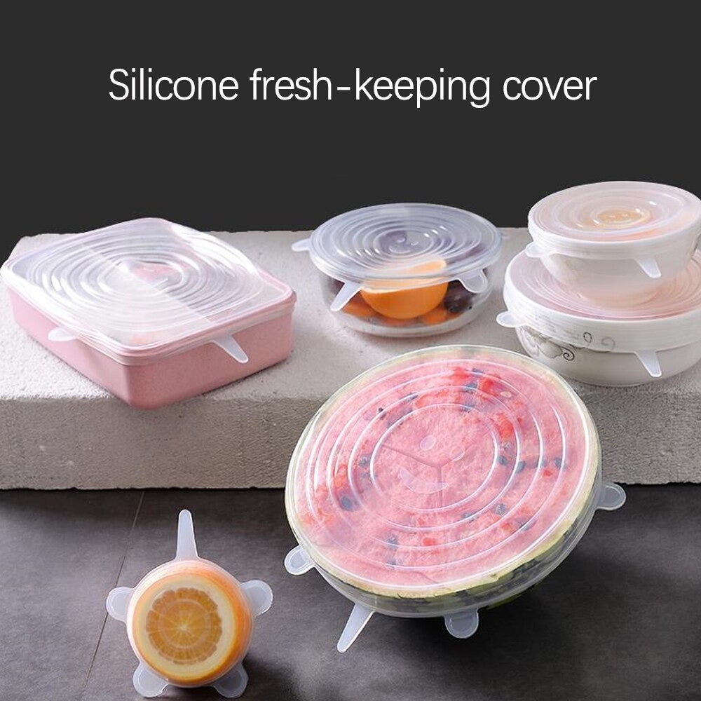 6 PCS Reusable Silicone Stretch Caps
