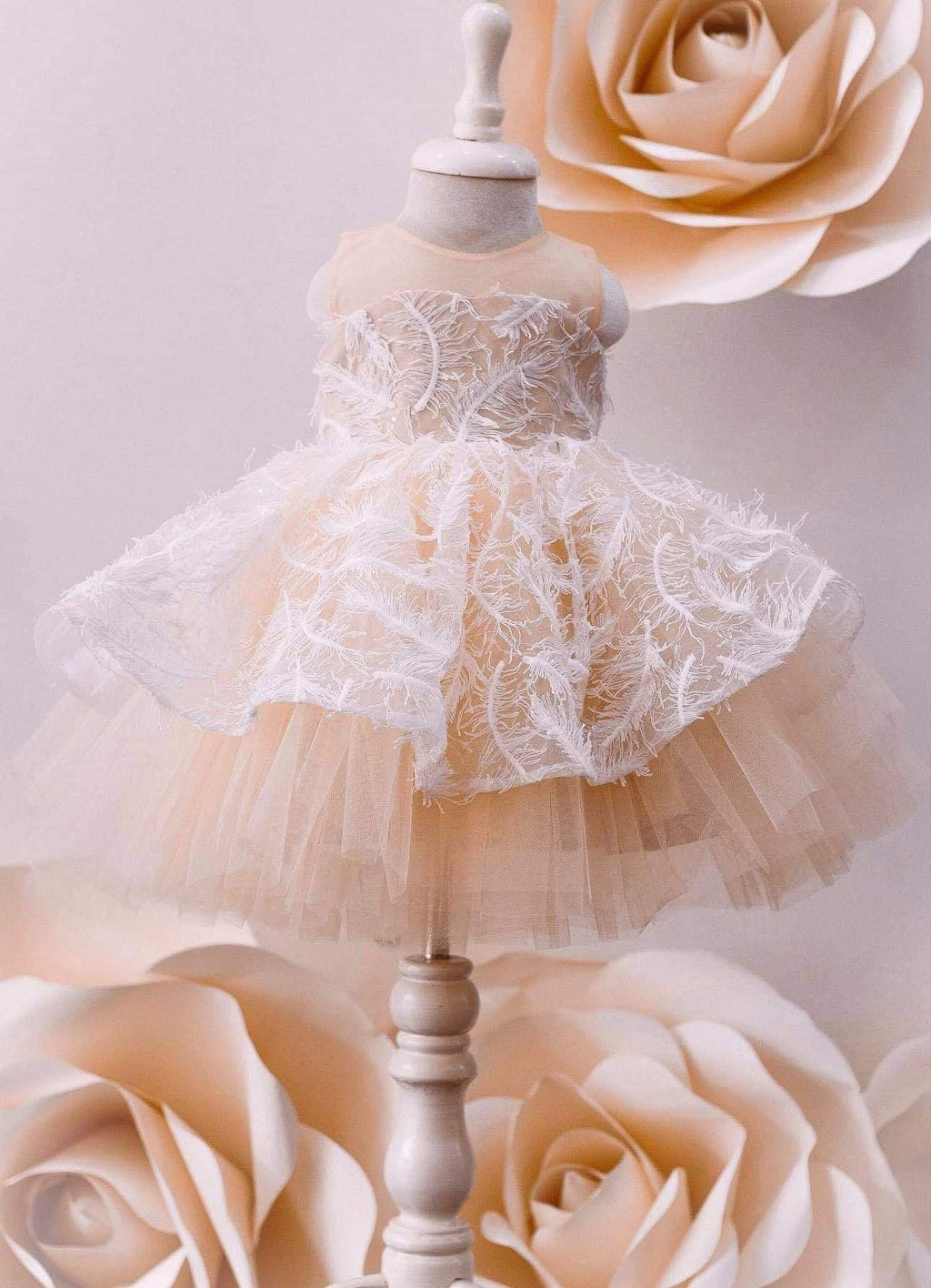 Baby Girl Nude Floral Princess Dress