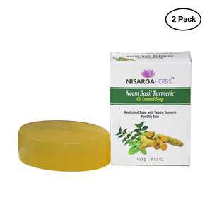 Neem Basil Turmeric Oil Control Soap (Pack of 2)